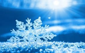 blue, winter, snow