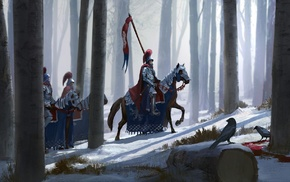 trees, knights, snow, forest, horse, crow