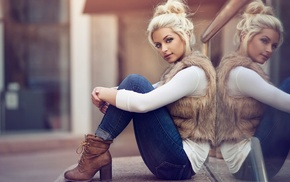 looking at viewer, boots, girl outdoors, sitting, street, jeans