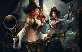 Katarina, Miss Fortune, gun, long hair, sword, League of Legends