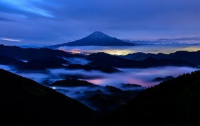 forest, Mount Fuji, long exposure, mountain, city, lights