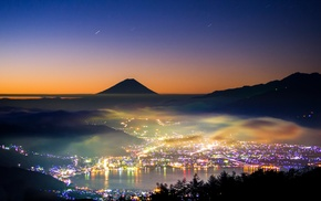 nature, lake, Japan, stars, lights, mist