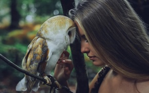 animals, Camille Rochette, owl, auburn hair, girl, birds