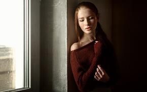 redhead, girl, Georgiy Chernyadyev, sweater