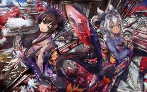 Japanese umbrella, Musashi KanColle, anime girls, anthropomorphism, cat, Yamato KanColle