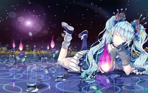 twintails, Vocaloid, flowers, closed eyes, anime girls, Hatsune Miku