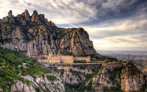 mountain, nature, building, Spain, landscape, clouds