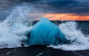 sea, ice, nature, Iceland