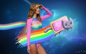 USA, Nyan Cat, miss pixie, chicks, bikini, Photoshop