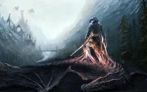 fantasy art, The Elder Scrolls V Skyrim, video games, fan art, artwork, dovahkiin