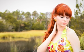 Karoline Kate, bare shoulders, closed eyes, depth of field, redhead, girl