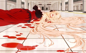 Monogatari Series, artwork, anime girls, Oshino Shinobu, blood, anime