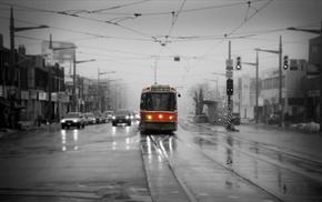 urban, Toronto, traffic, tram, street, selective coloring
