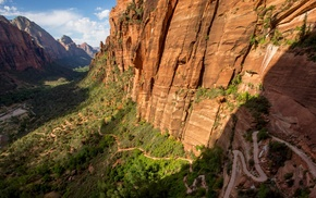 valley, Zion National Park, rock, landscape, Utah, nature