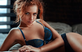 Blue Lingerie, in bed, Georgiy Chernyadyev, lingerie, blue eyes, redhead
