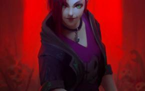 skull, Jinx League of Legends, League of Legends, redhead, Jinx