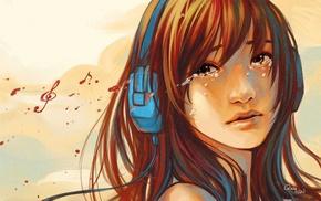 headphones, music, sadness
