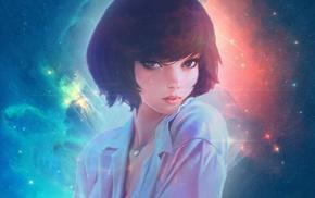 Ilya Kuvshinov, anime, KR0NPR1NZ, galaxy, edited, short hair