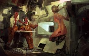 science fiction, space station, concept art, astronaut