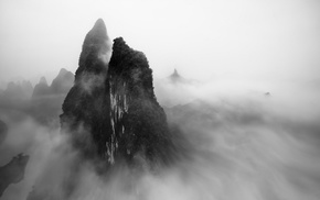 shrubs, mountain, China, mist, landscape, monochrome