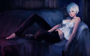 girl, artwork, gun, couch