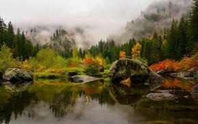mountain, green, landscape, mist, fall, lake