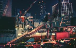 night, town, city, cranes machine, Japan, highway