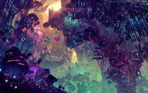 landscape, glowing, digital art, science fiction, fantasy art, city