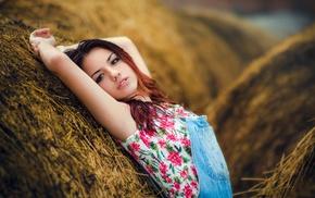 portrait, brunette, Delaia Gonzalez, girl, armpits, overalls