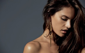 looking down, girl, brunette, model, face, Alessandra Ambrosio