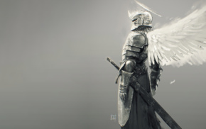 sword, angel wings, knight, fantasy art, fantasy armor