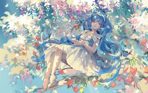 Vocaloid, heels, dress, trees, Hatsune Miku