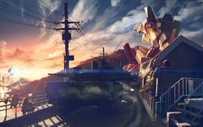 Neon Genesis Evangelion, EVA Unit 00, minions, tank, sunset
