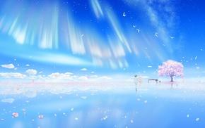 cherry blossom, clouds, Arima Kousei, Shigatsu wa Kimi no Uso, piano, birds