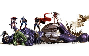 Spider, Man, Sentinel, Hulk, Marvel Comics, Captain America