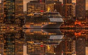 lights, water, cruise ship, sea, city, cityscape