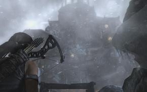 crossbow, Tomb Raider, Lara Croft, castle