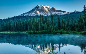 mountain, landscape, water, pine trees, lake, sunlight
