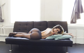 blonde, couch, ass, Alysha Nett, lingerie, tattoos