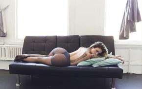 blonde, couch, ass, Alysha Nett, lingerie, tattoos