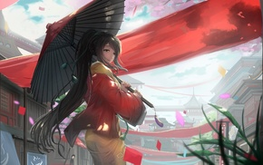 umbrella, artwork, red dress, original characters
