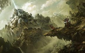 warrior, mountain, fantasy art, sword