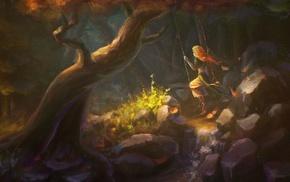 forest, fantasy art, swings