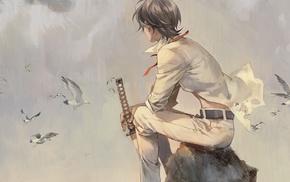 katana, original characters, white