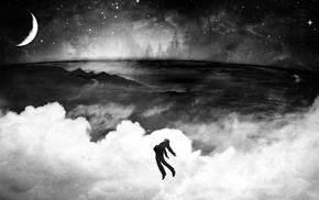 photo manipulation, moon, night, falling