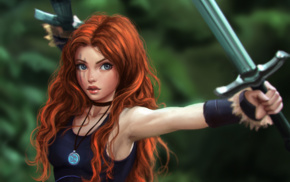 redhead, sword, fantasy art, original characters, Celtic, warrior