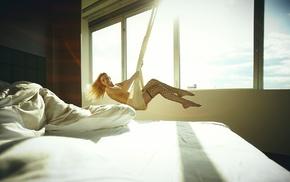 swings, window, girl, model