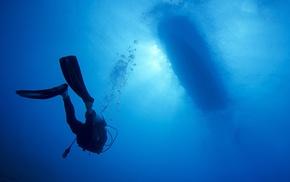 underwater, divers