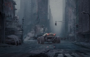 science fiction, building, wreck, people, artwork, car