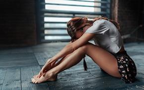barefoot, girl, on the floor, braids, model, legs